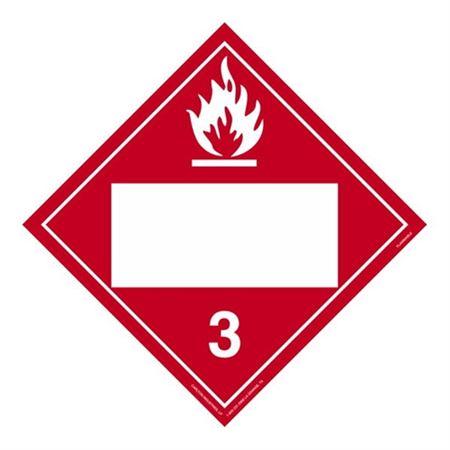Class 3 - Flammable Liquid Blank - Poly Blend 10 3/4 x 10 3/4