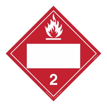 Class 2 - Flammable Gas - Removable Adhesive 10 3/4 x 10 3/4