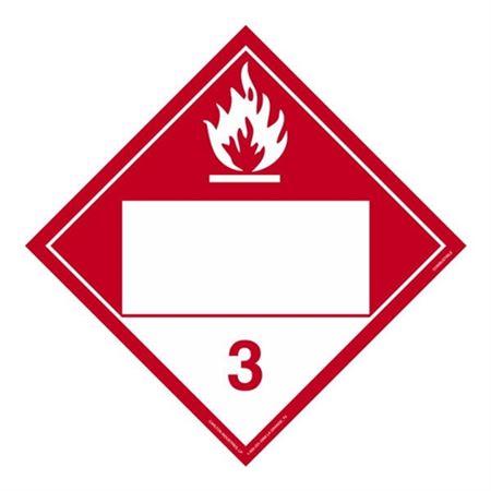 Class 3 - Combustible Liquid Blank - Adhesive 10 3/4 x 10 3/4