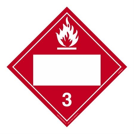 Class 3 - Flammable Liquid Blank - Adhesive 10 3/4 x 10 3/4