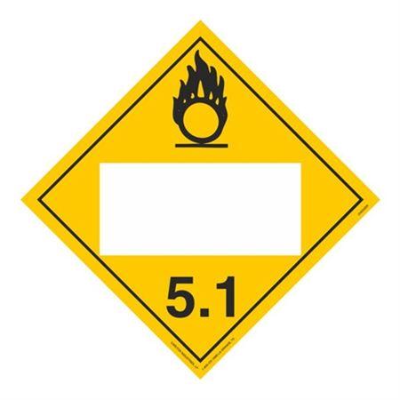 Class 5 - Oxidizer Blank - Adhesive 10 3/4 x 10 3/4