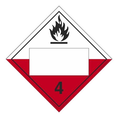 Class 4-Spontaneous Combustible Blank-Adhesive-10 3/4x10 3/4