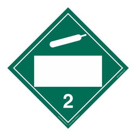Class 2 Non-Flammable Gas - Perm. Adhesive 10 3/4 x 10 3/4