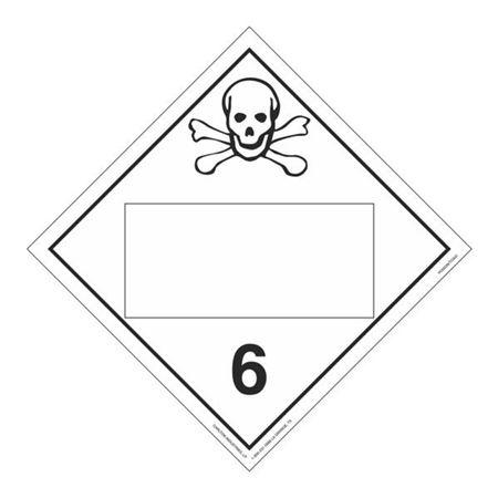 Class 6 Poison/Toxic - Blank Perm. Adhesive 10 3/4 x 10 3/4