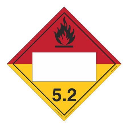 Class 5.2 Organic Peroxide - Perm. Adhesive 10 3/4 x 10 3/4