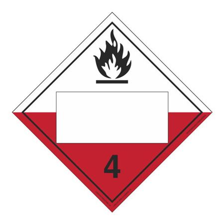 Class 4-Spontaneously Combustible Permanent Adhesive Placard