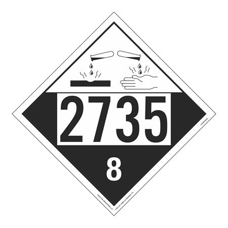 UN#2735 Corrosive Stock Numbered Placard