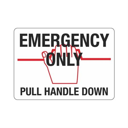 """Emergency Only Pull Handle Down - Vinyl Decal 6"""" x 12"""""""