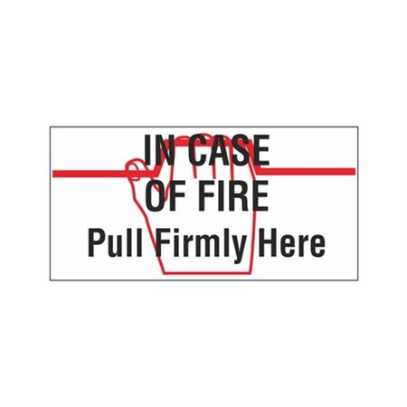 "In Case Of Fire Pull Firmly Here - Vinyl Decal 6"" x 12"""
