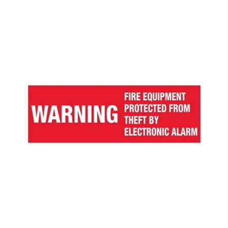 Warning Fire Equipment Protected From Theft By Electronic Alarm - Vinyl Decal 4 x 14