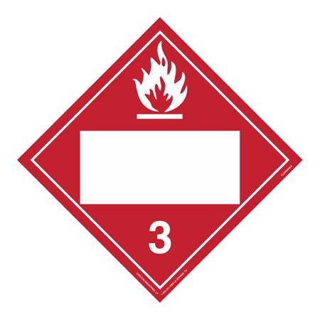 Class 3 - Flammable Liquid Blank - Rigid Vinyl 10 3/4 x 10 3/4