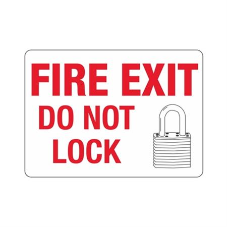 "Fire Exit Do Not Lock - Vinyl Decal 10"" x 14"""