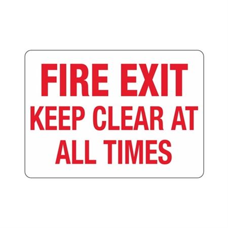 "Fire Exit Keep Clear At All Times - Vinyl Decal 10"" x 14"""