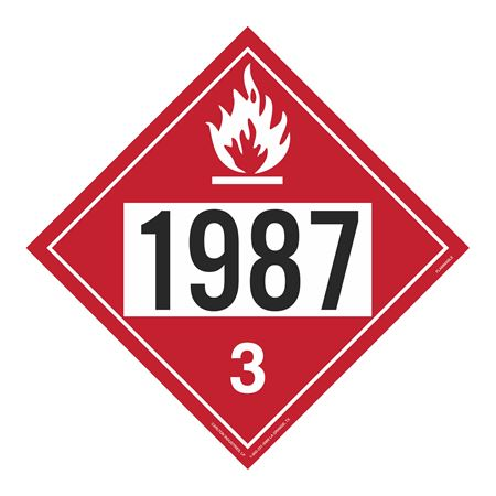 UN#1987 Flammable Liquid Stock Numbered Placard