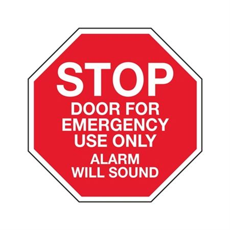 Stop Door For Emergency Use Only Alarm Will Sound - Vinyl Decal 6 x 6