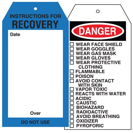 """Chem. Instruction Tags-Instructions For Recovery 4"""" x 7 1/2"""