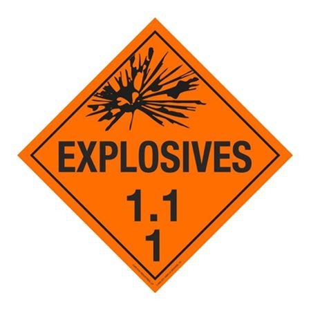 Class 1 - Explosives 1.1F Placard
