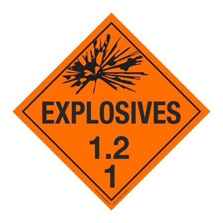 Class 1 - Explosives 1.2D Placard