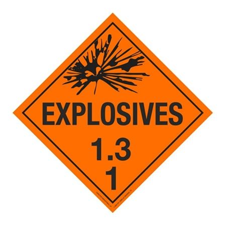 Class 1 - Explosives 1.3J Placard