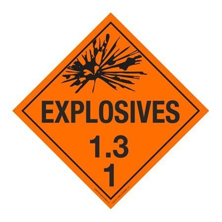 Class 1 - Explosives 1.3K Placard