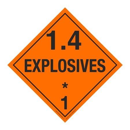 Class 1 - Explosives 1.4E Placard