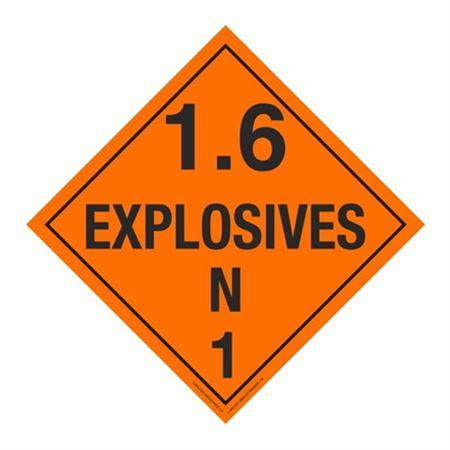 Class 1 - Explosives 1.6 Placard