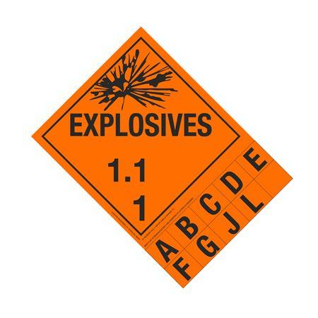 Class 1 Explosives Placard - 1.1 Handy Tab