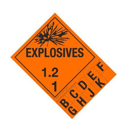 Class 1 Explosives Placard - 1.2 Handy Tab