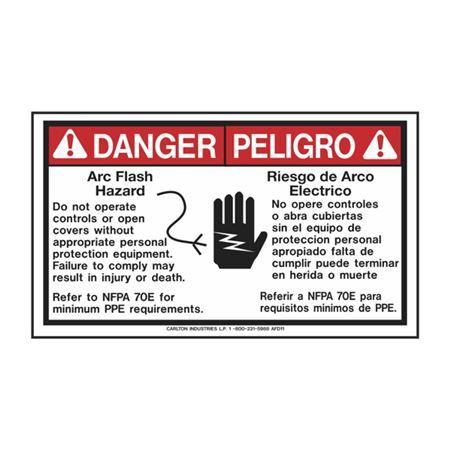 Danger Arc Flash Hazard Bilingual - PK/5 3.5 x 6