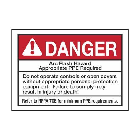 Arc Flash Decals - Danger Arc Flash Hazard -  pack/5 3.5 x 5