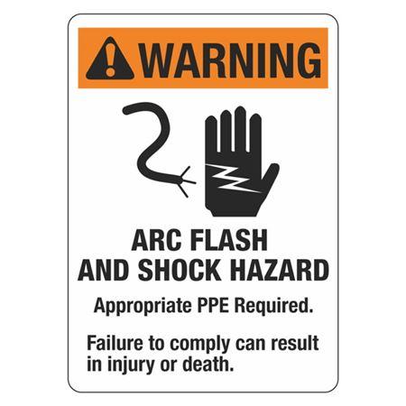 Warning Arc Flash and Shock Hazard Vinyl Sign - 10x14