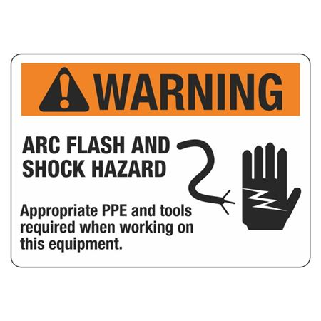 Warning Arc Flash And Shock Hazard Sign - 10 x 14 in