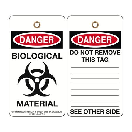 Danger Biohazard Biological Material Tag