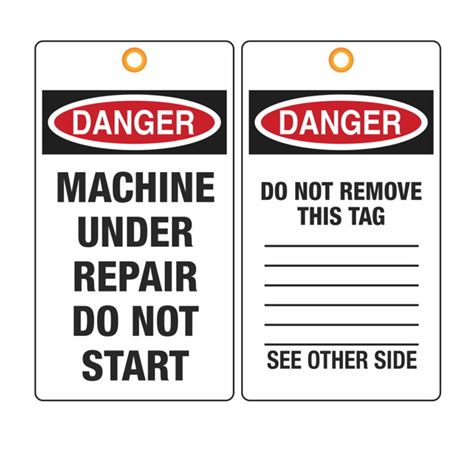 Danger Machine Under Repair Do Not Start Tag