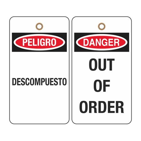 Danger Out of Order (Bilingual) Tag
