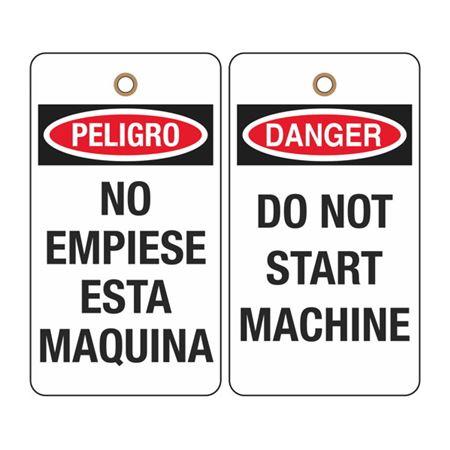 Danger Do Not Start Machine (Bilingual) Tag