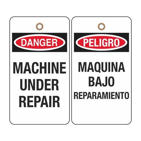 Danger Machine Under Repair Tag (Bilingual)