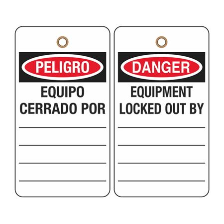 Danger Equipment Locked Out By: (Bilingual) Tag