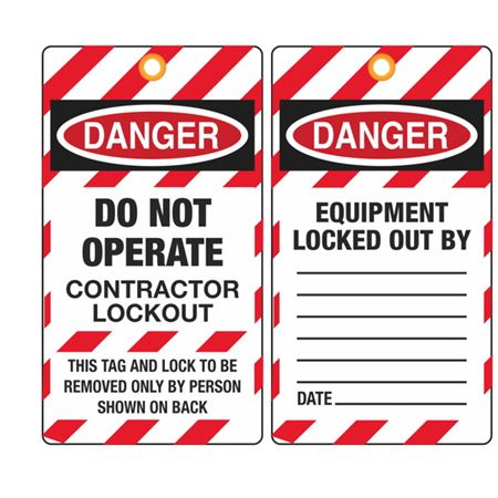 Danger Do Not Operate Contractor Lockout Tag