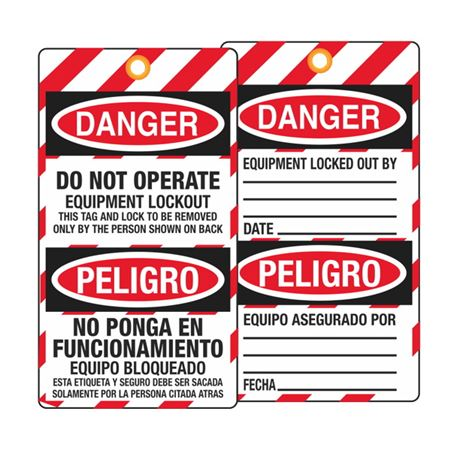 Danger Equipment Locked Out By/Date (Bilingual) Tag