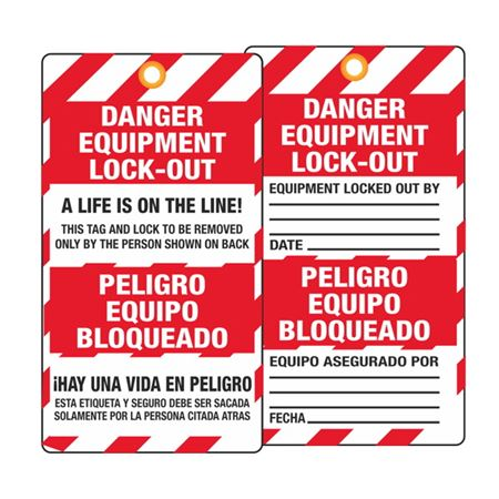 Danger Equipment Lock-Out/Date (Bilingual) Tag
