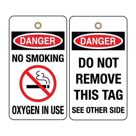 Danger No Smoking Oxygen In Use (graphics) Tag 3-1/8 x 5-5/8