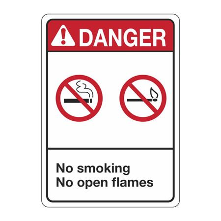 ANSI No Smoking No Open Flames Sign