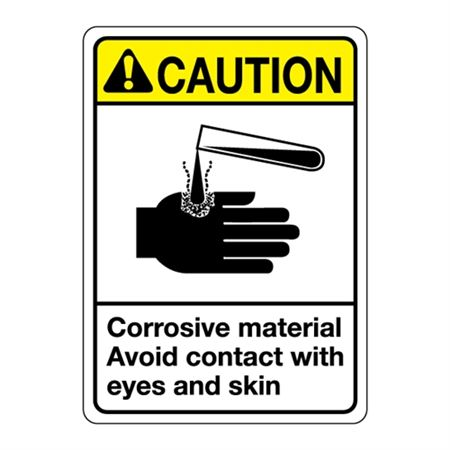 ANSI Corrosive Material Avoid Contact with Eyes and Skin