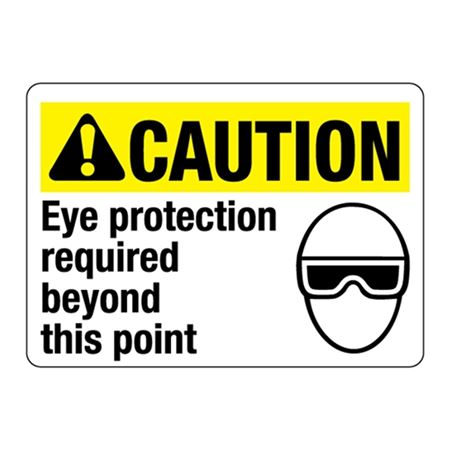 ANSI CAUTION Eye Protection Required Beyond This Point Sign