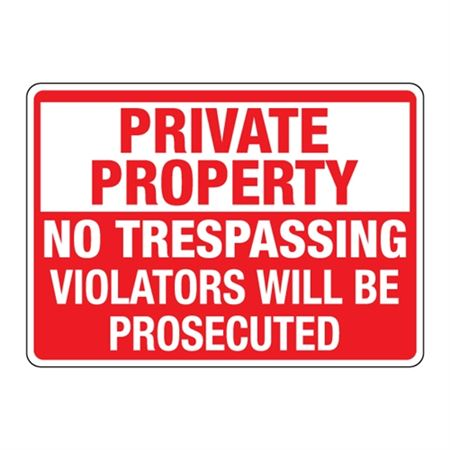 ANSI Private Property No Trespass./Violators Prosecuted Sign