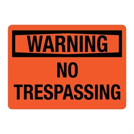 ANSI WARNING No Trespassing Sign - Orange