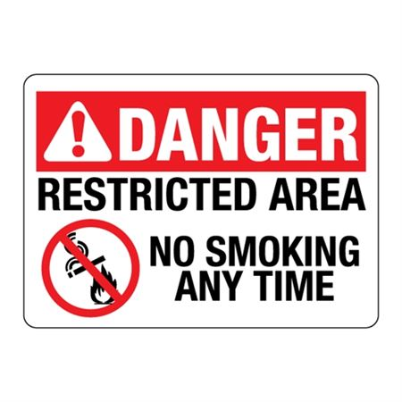 ANSI DANGER Restricted Area No Smoking Any Time