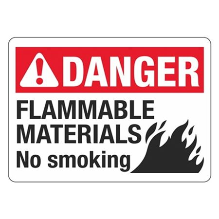 ANSI DANGER Flammable Materials No Smoking