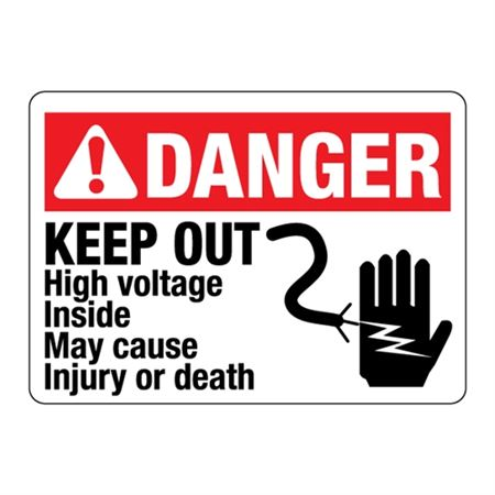DANGER KEEP OUT  High voltage inside may cause injury/death